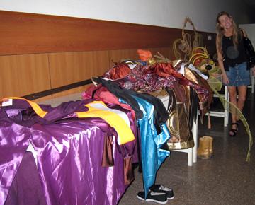 Costumes waiting for the Wardrobe Mistress, Beijing Opera