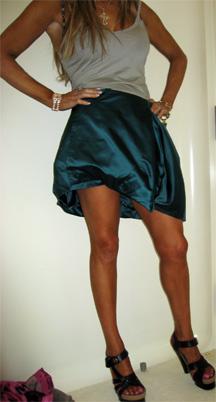 Prada teal assymmetrical skirt 07