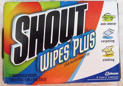 Shout wipes -- almost standard issue at the USNA