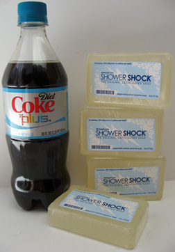 Diet Coke Plus vitamins and minerals and Shower Shock caffeinated soap