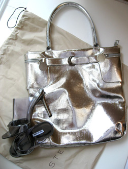 Stella McCartney's silver lame pleather tote with Blahnik patent Specchio mules