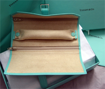 the inside of the Tiffany jewelry roll is lined in suede