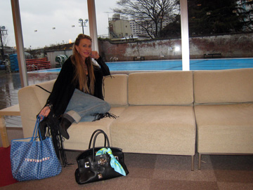 In the Garden Cafe overlooking the pool at the Tokyo American Club
