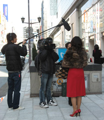 tv interview in the Ginza