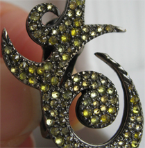 closeup of the VBH yellow diamond earrings