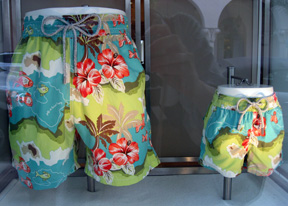 This Hawaiin print with Hibiscus is featured at the Vilebrequin on Worth Ave., Palm Beach
