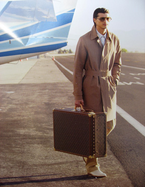 Vuitton ad for Alzer luggage and RTW from their current catalog