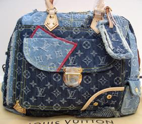Vuitton denim patchwork Bowly
