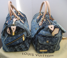 Vuitton denim patchwork Speedy - sides